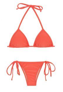 Łososiowe wiązane brazylijskie bikini - TABATA TRI