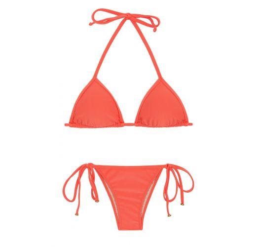 Salmon pink side-tie Brazilian bikini with sliding top - TABATA TRI