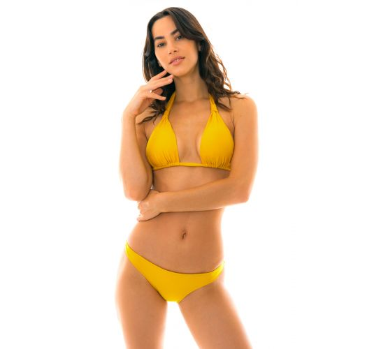 Bikini giallo con top triangolo halter giallo - TEMPERO CORTINAO