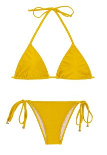 Yellow side-tie triangle Brazilian bikini - TEMPERO LACINHO