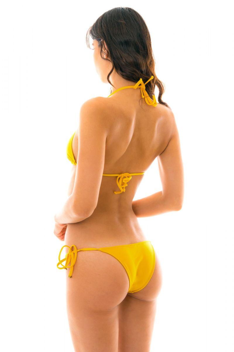 Yellow side-tie triangle Brazilian bikini - TEMPERO LACINHO