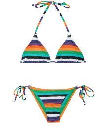 Multi-coloured striped Brazilian bikini - TEPEGO CHEEKY