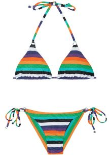 Multi-coloured striped Brazilian bikini - TEPEGO CHEEKY