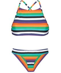 Crop top Brazilian bikini with colourful stripes - TEPEGO SPORTY