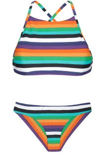 Crop top Brazilian bikini with colourful stripes - TEPEGO SPORTY