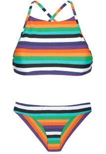 Raidallinen, värikäs crop top -bikini - TEPEGO SPORTY