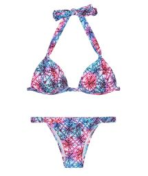 Padded tie-dye triangle bikini with adjustable bottom - TIEJEAN BASIC