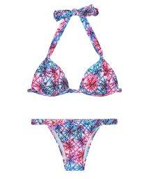 Padded tie-dye triangle bikini with adjustable bottom - TIEJEAN BASIC