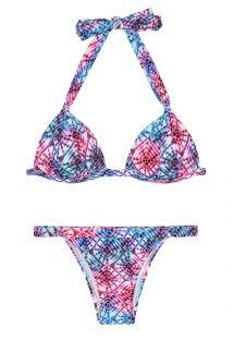 Bikini con forma triangular y relleno,estampado tie dye y braguita ajustable - TIEJEAN BASIC