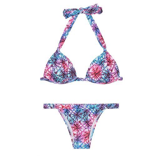 Tie dye driehoekige bikinitopje met voorgevormde cups, verstelbaar bikinibroekje - TIEJEAN BASIC