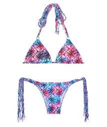 Tie-n-dye Brazilian bikini with long tassels - TIEJEAN BOHO