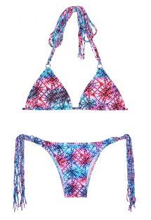 Tie & dye -kuvioitu brasilialainen bikini pitkillä hapsuilla - TIEJEAN BOHO
