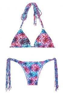 Brasilianischer Tie-and-dye-Bikini mit langen Fransen - TIEJEAN BOHO