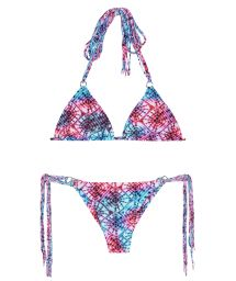 String bikini, pink and blue tie dye with fringe - TIEJEAN BOHO MINI