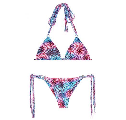 Roze/blauwe tie dye bikini met franjes - TIEJEAN BOHO MINI