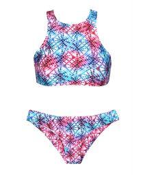 Tie dyepink/blue swimmer back crop top bikini - TIEJEAN SPORTY