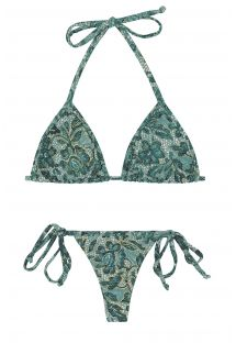 String-bikini med knyting på sidene og blått blomstermønster - TRI MICRO FLOWER BLUE