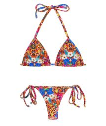 Colorful side-tie string bikini - TRI MICRO FLOWER HORTENSIA