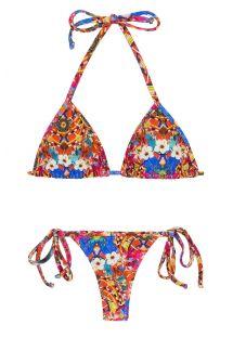 Fargerik string bikini med knyting på sidene - TRI MICRO FLOWER HORTENSIA
