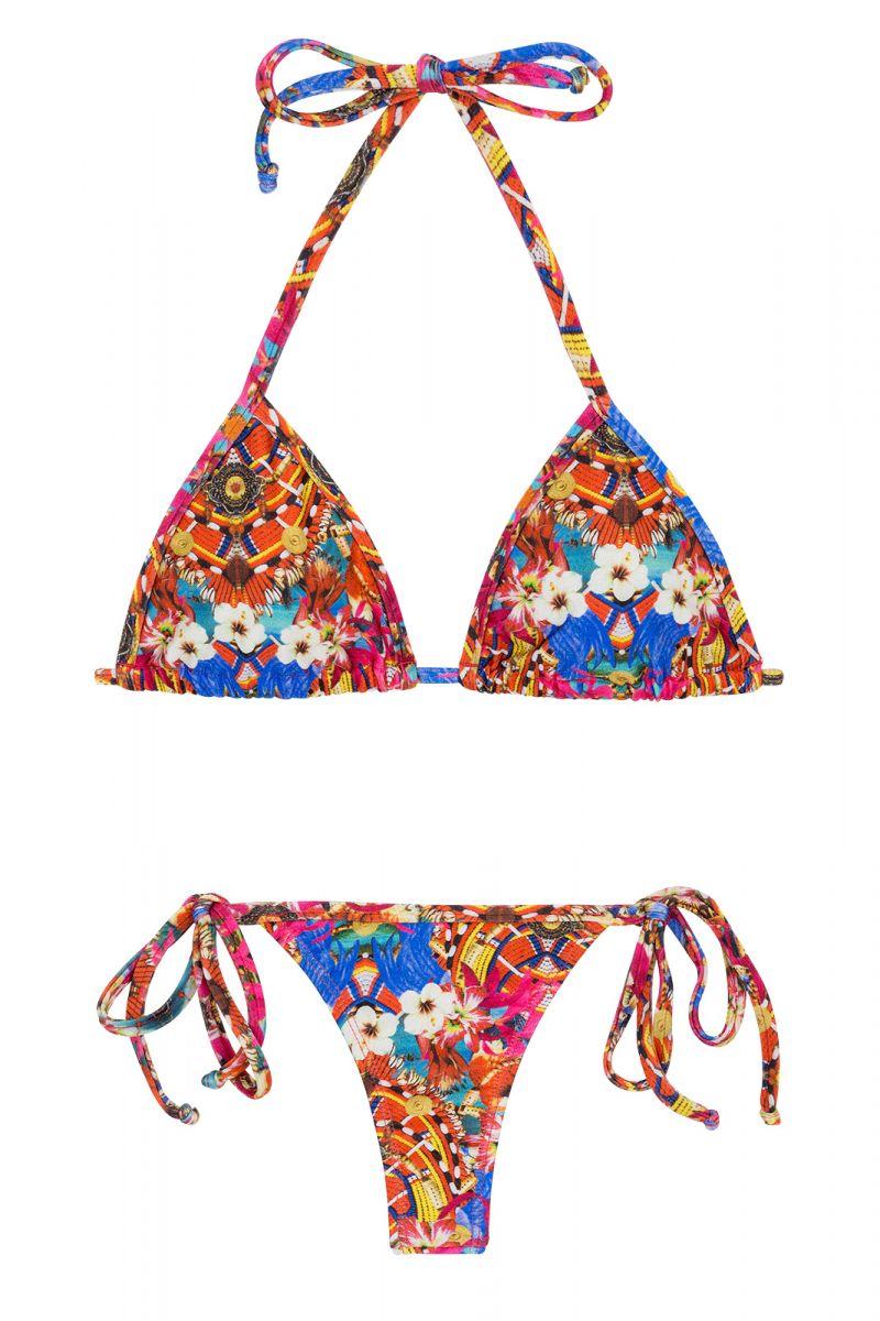 Färgglad sidoknytbar string bikini - TRI MICRO FLOWER HORTENSIA