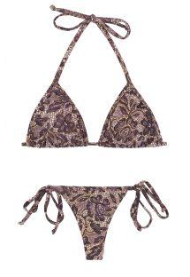 String-bikini med knyting på sidene og lilla blomstermønster - TRI MICRO FLOWER PURPLE