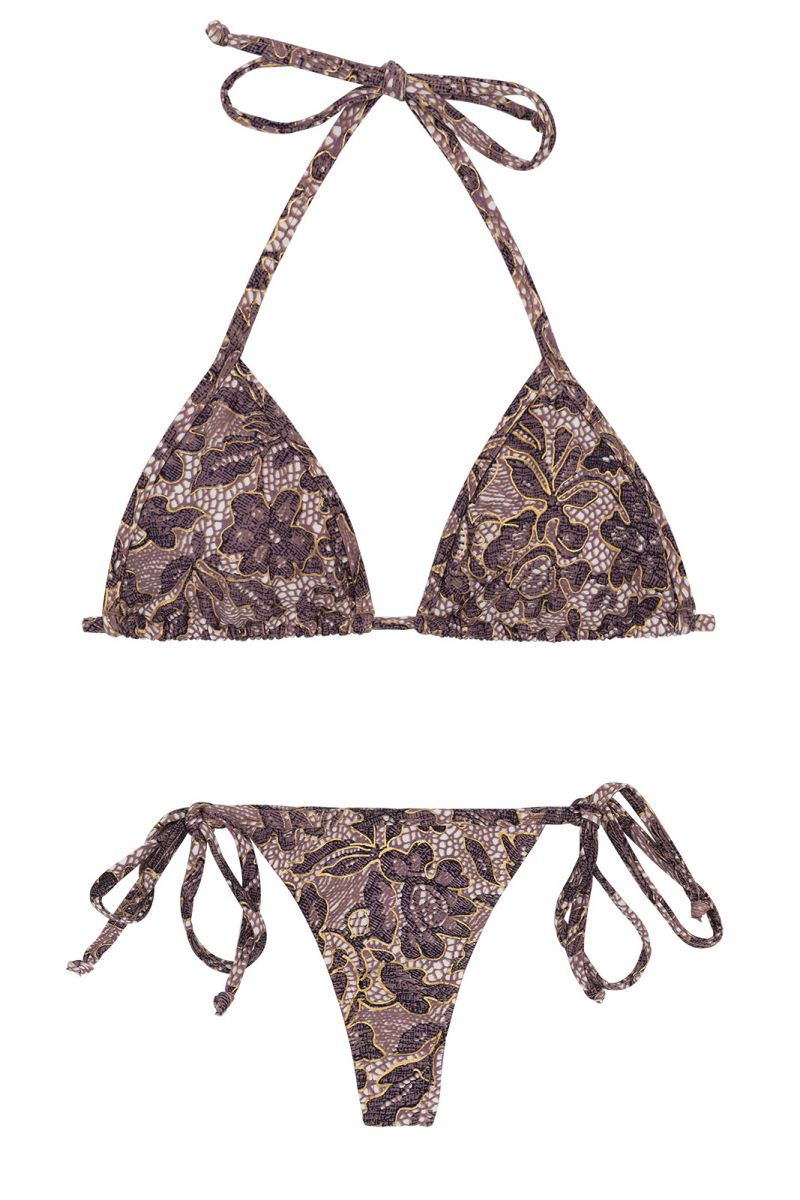 Side-tie string bikini in purple floral print - TRI MICRO FLOWER PURPLE