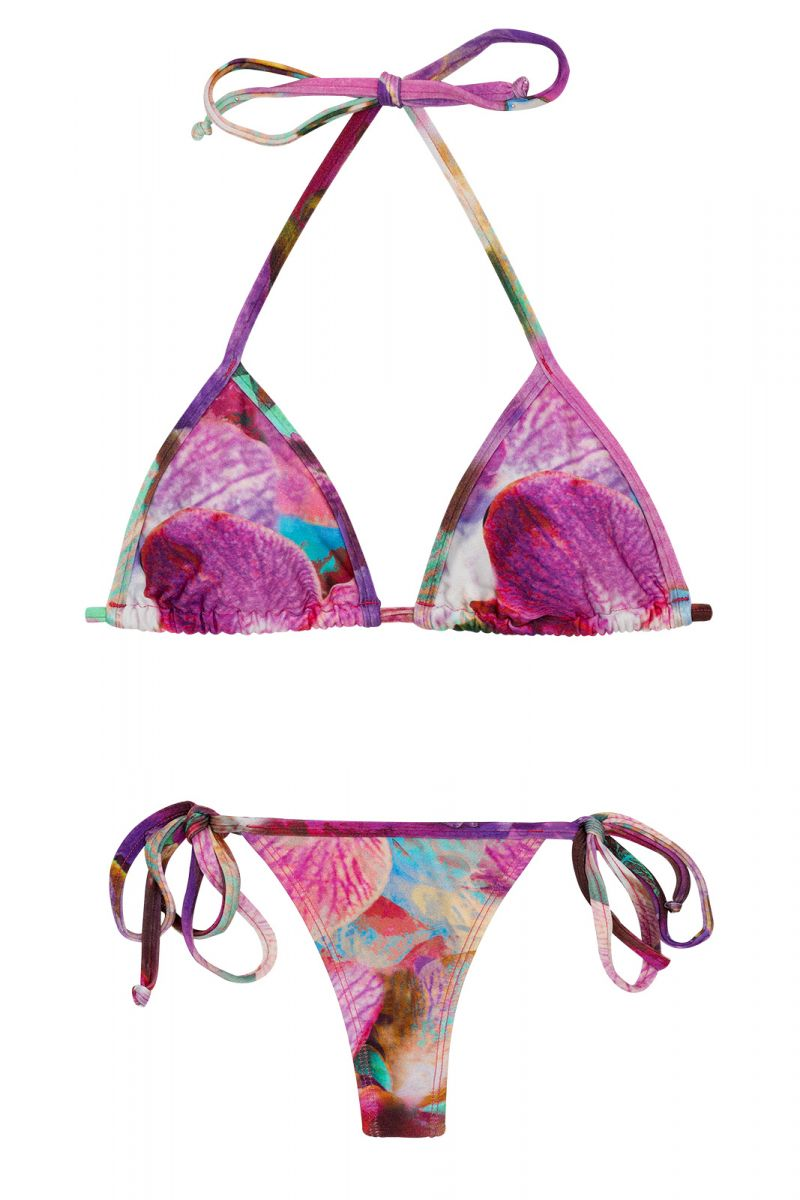 Side-tie string bikini in pink and purple flowers - TRI MICRO MAXI FLOWER PURPLE