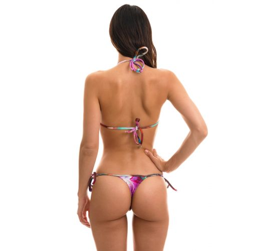 Side-tie string bikini in pink and purple flowers - TRI MICRO MAXI FLOWER PURPLE