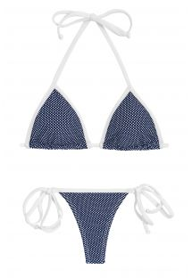 Navy side-tie string bikini in white polka dot print - TRI MICRO POA WHITE