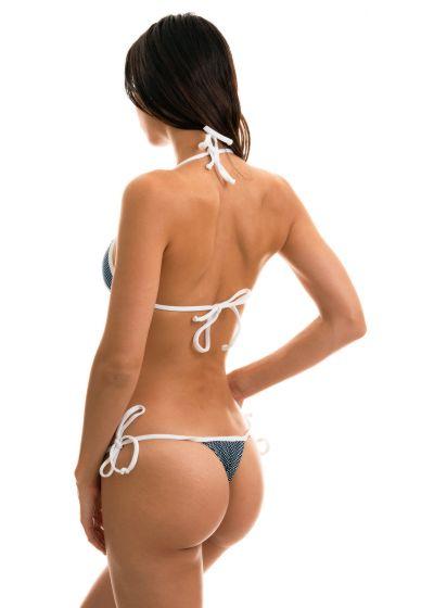 Navy side-tie string bikini in white polka dot print - TRI MICRO POA WHITE