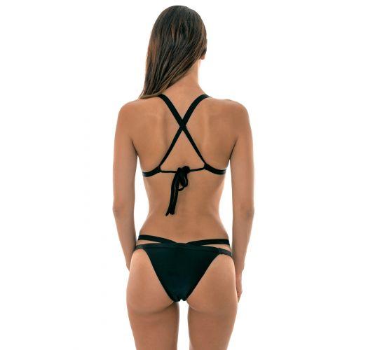 Black fixed triangle bikini with a cross back - TRIANGULO PRETO