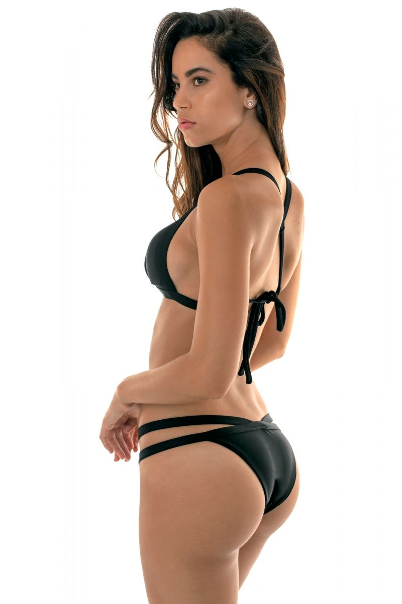 Black fixed triangle bikini with a cross back - TRIANGULO PRETO