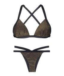 Black lurex cross back fixed triangle bikini - TRIANGULO RADIANTE