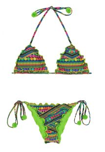 Colourful printed scrunch bikini with green pom-poms - TRICOTART FRUFRU