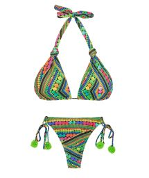 Green bikini with tassels and multi-position top - TRICOTART MULTI