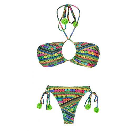 String-bikini med grønne dusker, topp med flere posisjoner - TRICOTART MULTI