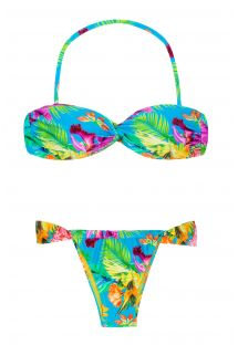 Twisted bandeau bikini with tropical flowers - TROPICAL BLUE TOMARA QUE CAIA