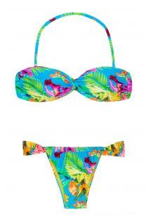 Dekorativt vriden bandeau-bikini med tropiskt blommönster - TROPICAL BLUE TOMARA QUE CAIA