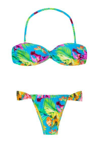 Twisted bandeau bikini with tropical flowers - TROPICAL BLUE TOMARA QUE CAIA