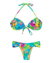 Tropical floral push-up bikini with underwiring - TROPICAL BLUE BALCONET