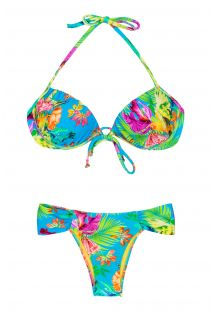 Bikini push-up con ferretto, fiori tropicali  - TROPICAL BLUE BALCONET