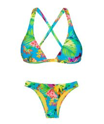 Tropical floral non-adjustable halter triangle bikini - TROPICAL BLUE CORTINAO