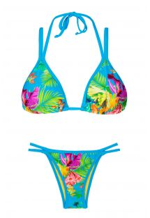 Bikini triangulo flores tropicales doble lazo - TROPICAL BLUE DUO