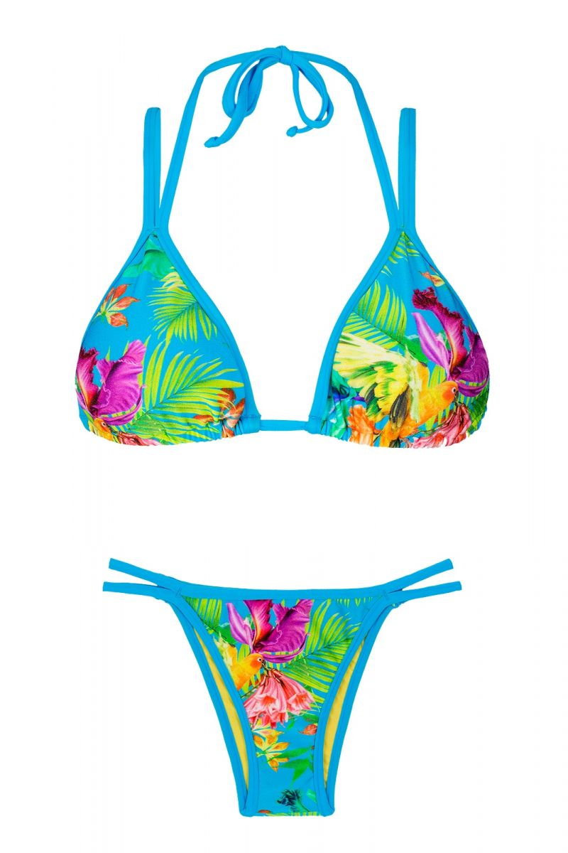 Triangle bikini in tropical flower print with double straps - TROPICAL BLUE DUO