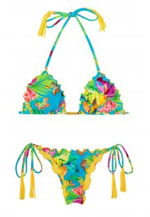 Bikini slip scrunch tropical,ponpon gialli - TROPICAL BLUE FRUFRU