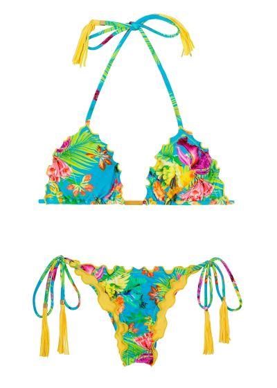 Tropical scrunch bikini with fringed yellow pompons - TROPICAL BLUE FRUFRU