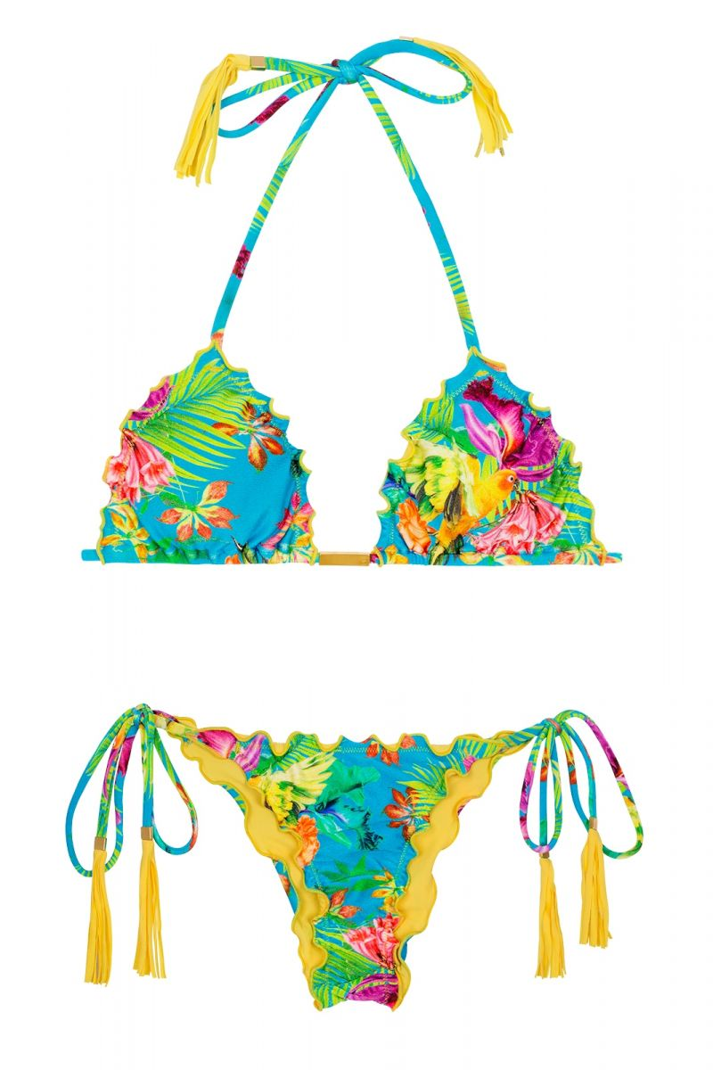 Rynkad, tropisk gul bikini med fransade pomponger - TROPICAL BLUE FRUFRU