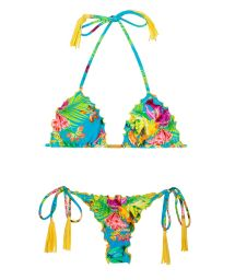 Tropical string bikini with yellow fringed tassels - TROPICAL BLUE FRUFRU FIO