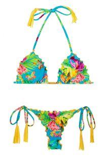 Tropische Mikro-Bikinihose, gefranste Pompons - TROPICAL BLUE FRUFRU FIO