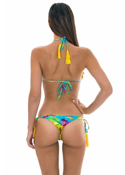 Tropical string bikini with yellow fringed tassels - TROPICAL BLUE FRUFRU FIO